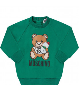 MOSCHINO KIDS Green babyboy sweatshirt with Teddy Bear and snowman