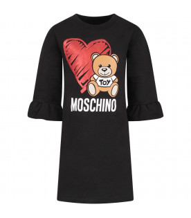 MOSCHINO KIDS Black girl dress with Teddy Bear and heart