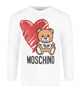MOSCHINO KIDS White girl T-shirt with Teddy Bear and heart