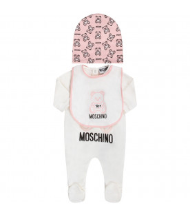 White and pink babygirl set with pink Teddy Bear