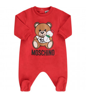 Red babykids set with Teddy Bear and snowman