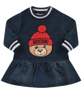 MOSCHINO KIDS Blue babygirl dress with colorful teddy bear