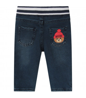 MOSCHINO KIDS Blue babykids jeans with colorful Teddy Bear