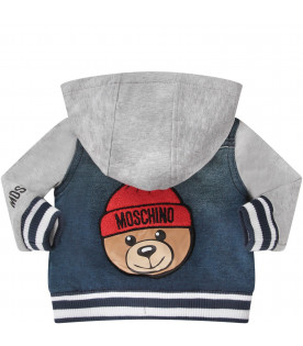 MOSCHINO KIDS Blue sweatshirt with colorful Teddy Bear