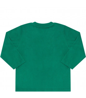 MOSCHINO KIDS Green babyboy T-shirt with Teddy Bear and snowflakes