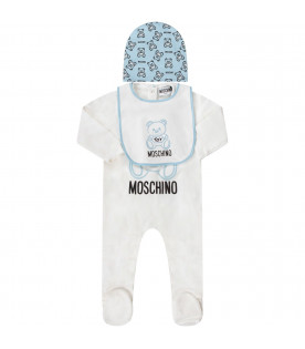 MOSCHINO KIDS White and light blue babyboy set with light blue Teddy Bear