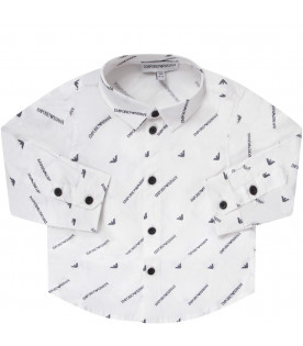 ARMANI JUNIOR White babyboy shirt with logo and eagle