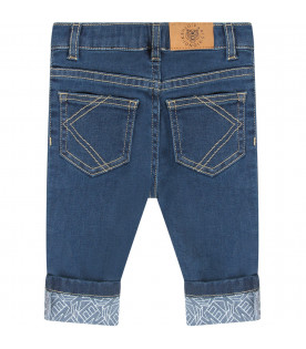 KENZO KIDS Denim babyboy jeans with white logo