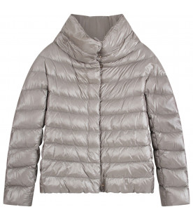 HERNO KIDS Grey girl jacket with metallic logo