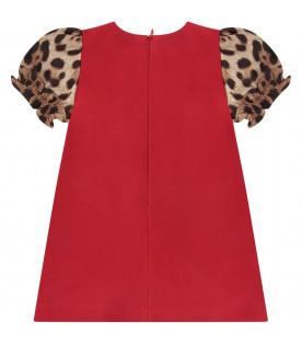 DOLCE & GABBANA KIDS Red babygirl dress with leopard