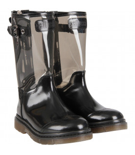 Black and grey girl high boot with logo