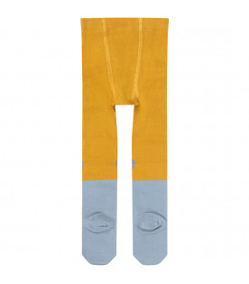 Yellow and light blue babygirl tights with colorful mouse