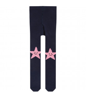 Blue babygirl tights with pink stars