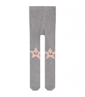 Grey babygirl tights with pink stars