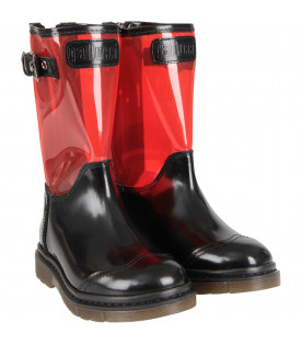 Black and red girl high boot with logo