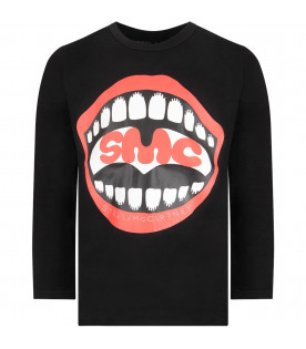 Black kids T-shirt with lips and logo
