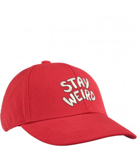 Red kids hat with white writing