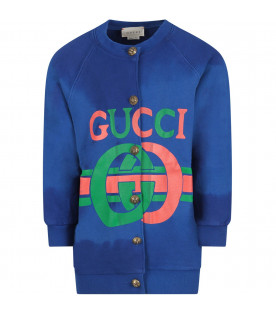 Blue girl sweatshirt with red and green logo