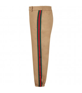 GUCCI KIDS Beige boy pants with orange logo