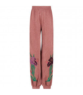 GUCCI KIDS Pink girl pants with flower