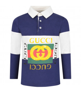 GUCCI KIDS Blue boy polo shirt with colorful vintage logo