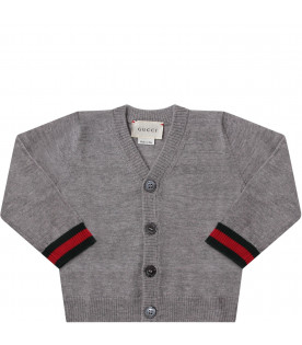 GUCCI KIDS Grey babyboy cardigan with web detail