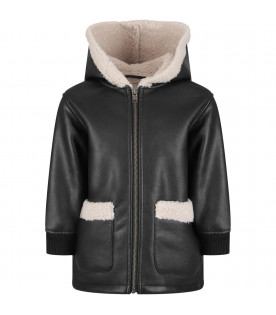 STELLA MCCARTNEY KIDS Black girl jacket with ivory detail