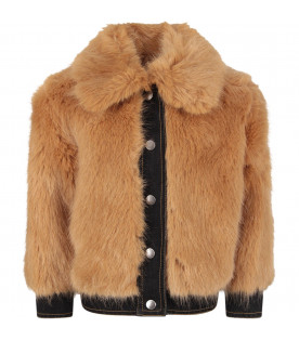 STELLA MCCARTNEY KIDS Beige girl faux fur