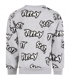 JEREMY SCOTT Grey boy sweatshirt with logo
