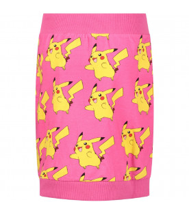 JEREMY SCOTT Fucshia girl skirt with all-over Pikachu