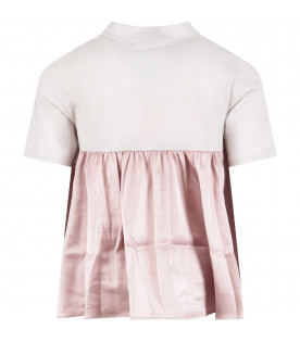 Grey and pink ''Olive'' girl T-shirt