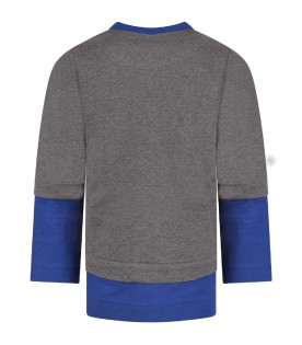 Grey and blue ''Lou'' boy sweatshirt with iconic patch