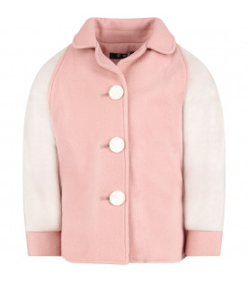 OWA YURIKA Pink and white ''Cara'' girl coat