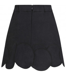 OWA YURIKA Black ''Michiko''girl skirt with patch