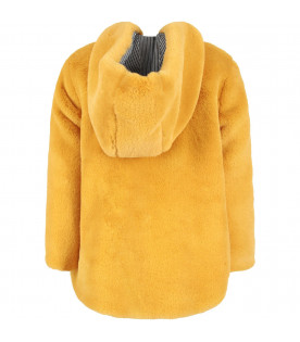 OWA YURIKA Yellow ''Mille'' girl reversible faux fur