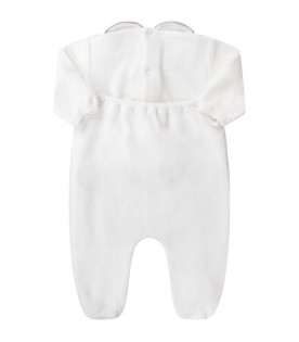 White babyboy babygrow with grey polka-dots