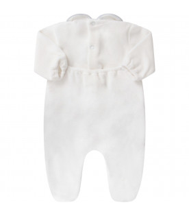 White babyboy babygrow with light blue polka-dots