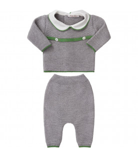 Grey babykids suit with green belt