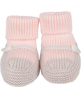 LITTLE BEAR Pink and beige babygirl bootee