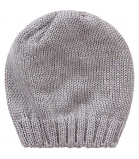 LITTLE BEAR Grey babygirl hat with bow