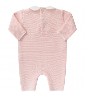 LITTLE BEAR Pink babygirl babygrow with white bow