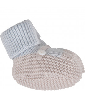 Light blue and beige babyboy bootee