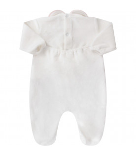 White babygirl babygrow with pink polka-dots