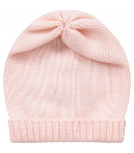 Pink babygirl hat with turn-up