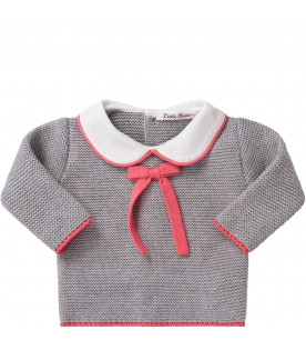 LITTLE BEAR Grey babygirl suit with fucshia bow