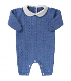 LITTLE BEAR Azure babyboy babygrow with calbe knit