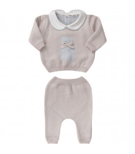Beige babyboy suit with light blue iconic bear