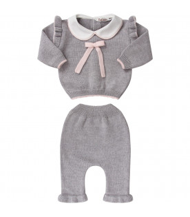 LITTLE BEAR Grey babygirl suit with pink bow