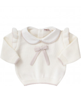 LITTLE BEAR White babygirl suit with beige bow
