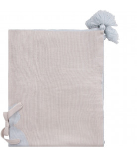 LITTLE BEAR Beige and light blue babyboy blanket with iconic bear